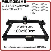 15 w lazer TTL kontrol ile 1*1 m büyük alan 5500 mw DIY lazer oyma makinesi, 2500 mw diy işaretleme makinesi, 1600 mw lazer gravür