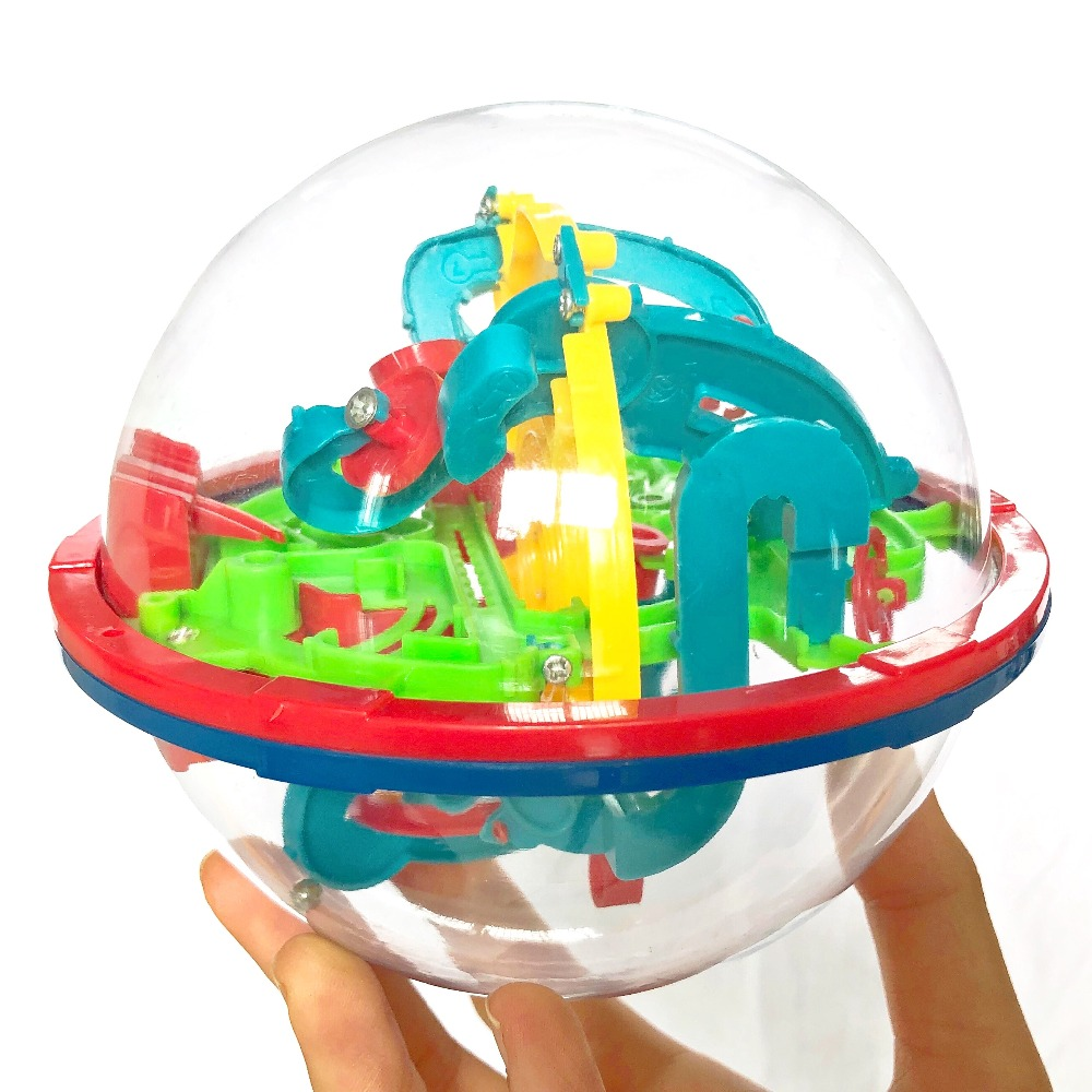 3D Intellect Puzzle Ball Maze Game for Children Educational Metal Toy Wooden Learning Creativity Kids from 1-3 Boys Girls Baby