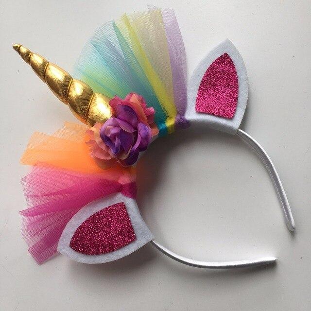1 pcs Regenboog Eenhoorn Hoorn Haarband Kids Chiffon Eenhoorn Hoofdbanden Glitter Haarband Pasen Bonus voor Party Gift Haaraccessoires