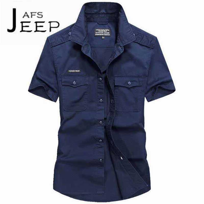 JI PU Pure Color Summer hombres Short Sleeve Working shirt,High Quality 100% Cotton Mutil-pocket mono,military male shirts