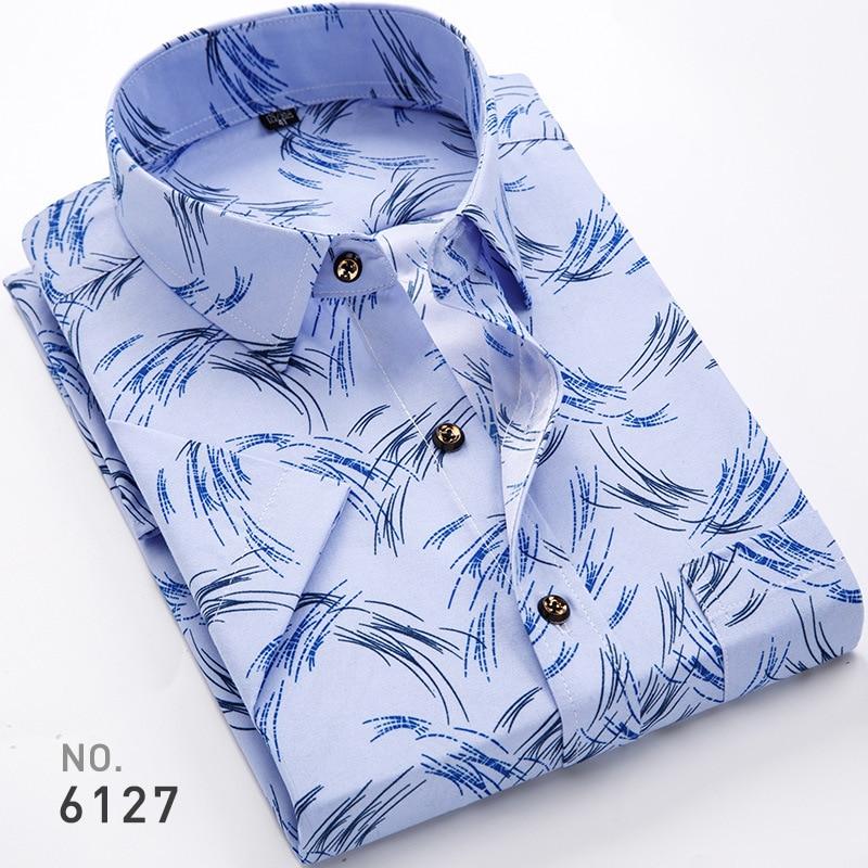 cb825c775a3 Uwback Men Summer Office Shirts Printed Short Sleeve Casual Shirt ...