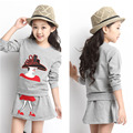 New Fashion Boutique 2016 sets children's clothing point of Long Sleeve Shirts + skirts 2 pcs set of clothes