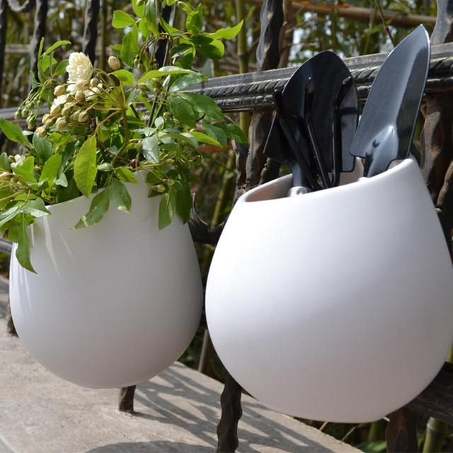 Ceramic Flower Pots Planters Decorative Vases Wall Hanging Vase Ceramic Pot  Home Decoration Garden Ornaments Pen Holder DIY Pot