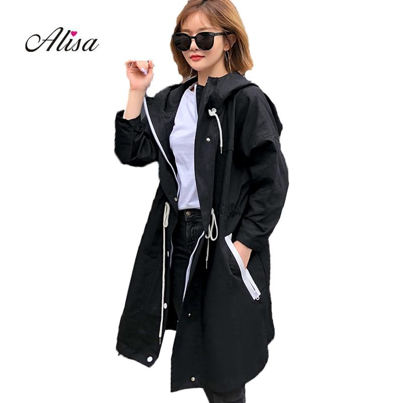 Harajuku Windbreaker 2018 New Women Long Sleeve Hooded Casual Zipper Long   Trench   Coat Autumn Big Size 3XL Loose Female Overcoat