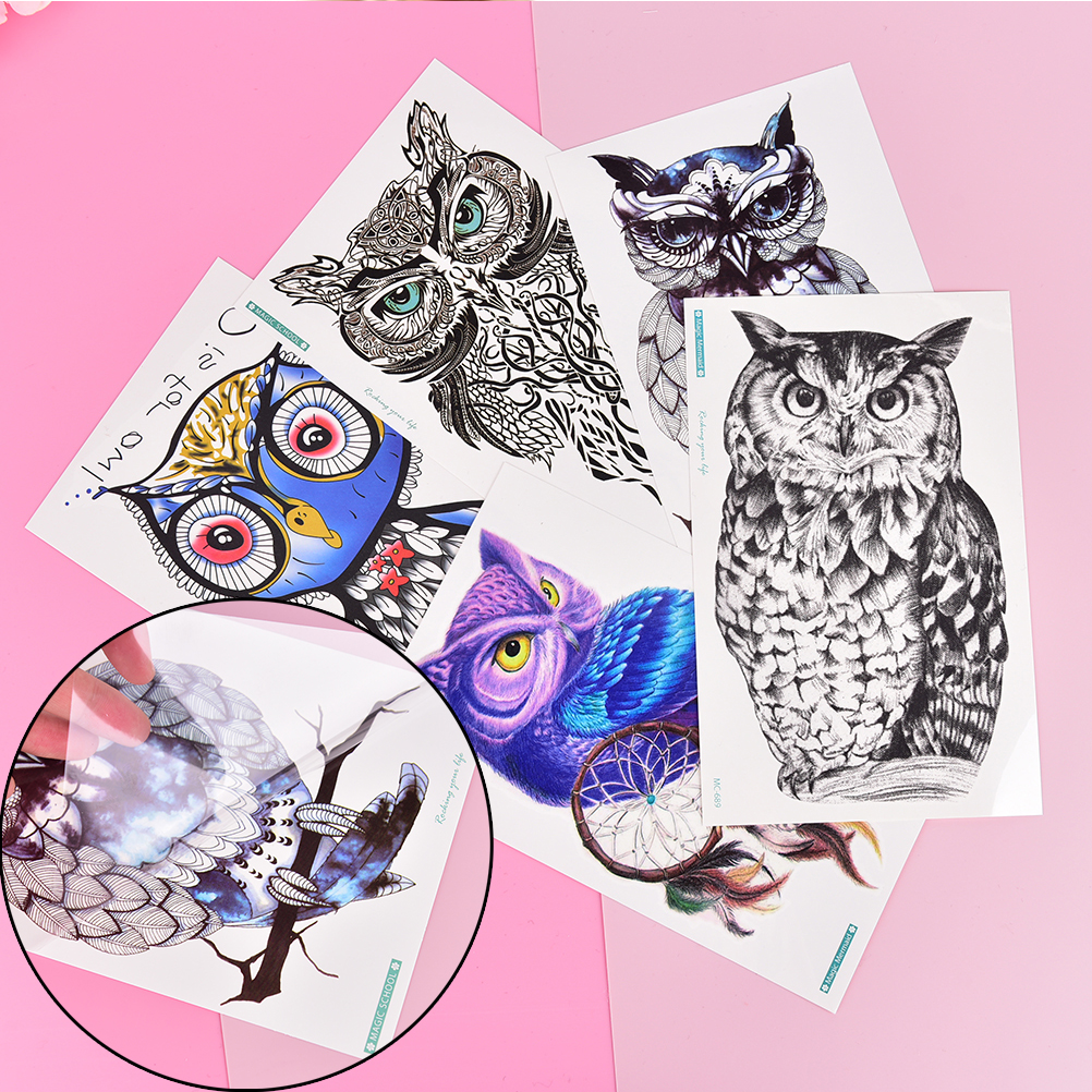 1PC Owl Design Large Arm Tattoo Sleeve Flash Hedwig Temporary Tattoo Sticker Waterproof Henna Tatoo Women Body Art