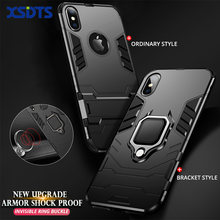 Anti Shock Proof Case For iPhone X XR XS Max 8 Plus 6 6s 7 5 SE 5S Phone Case PC+Silicone Iron Man Kickstand Cover(China)