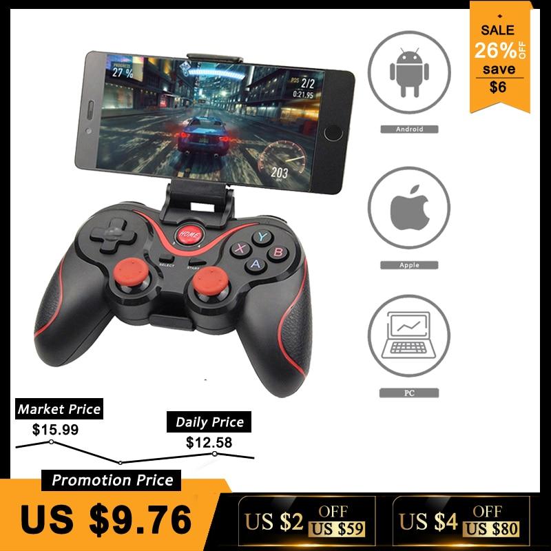 Großhandel Terios T3 X3 Wireless-Joystick Gamepad Game Controller bluetooth BT3.0 Joystick Für Handy Tablet TV Box Halter