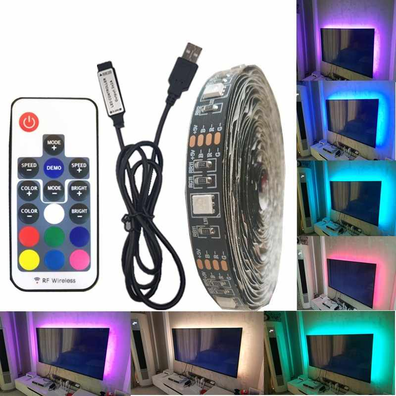 DC 5V USB LED Strip 5050 Tahan Air Lampu LED RGB Fleksibel 50CM 1M 2M 3 17Key Remote untuk TV Pencahayaan Latar Belakang