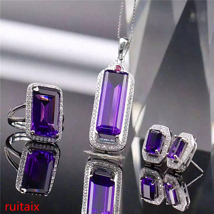 все цены на KJJEAXCMY boutique jewels 925 sterling silver inlaid with gem natural amethyst necklace pendant ring earrings 3 pieces of jewelr