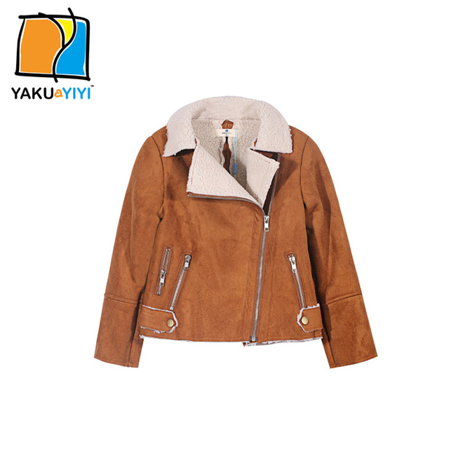 YKYY YAKUYIYI Autumn Girls Zipper Bomber Jacket Dark Brown Chic Wide Waisted Lambswool Lapel Baby Overcoat Pocket Kids Outwear