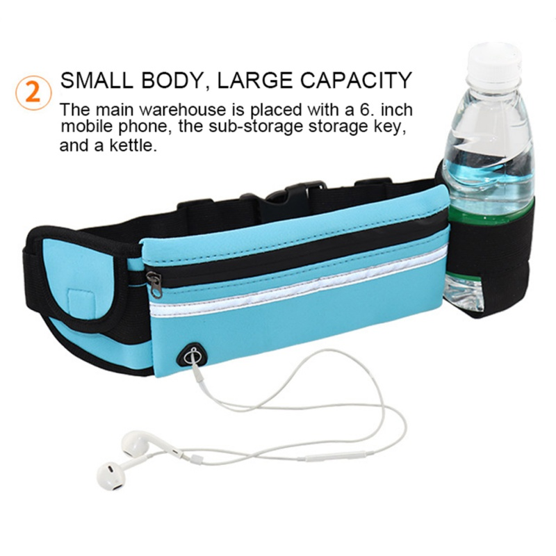 Men Women Running Waist Bag Sport Pack Waterproof Cycling Bag  Fanny Pouch Travel Hiking Fitness Bag With Kettle Pocket
