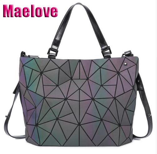 Maelove Geometry bag Women Luminous Bag Diamond Hologram Laser Plain Folding Rainbow Handbags bag Free Shipping lumiliu bags