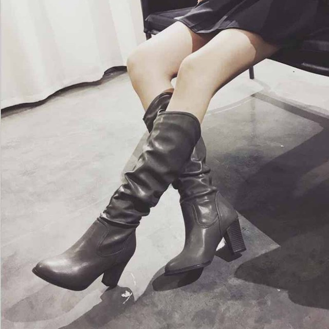 24db2b0ada4b Thigh High Flat Boots Women Over the Knee Boots Comfort Fall Winter Faux  Suede Boots Fashion Shoes Woman Black Dark Gray Wine
