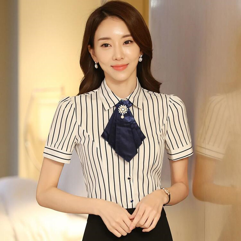 8051db5edf938 Fashion elegant bow tie Women shirt OL Summer formal short sleeve slim  chiffon stripe blouse office ladies plus size work tops-in Blouses   Shirts  from ...