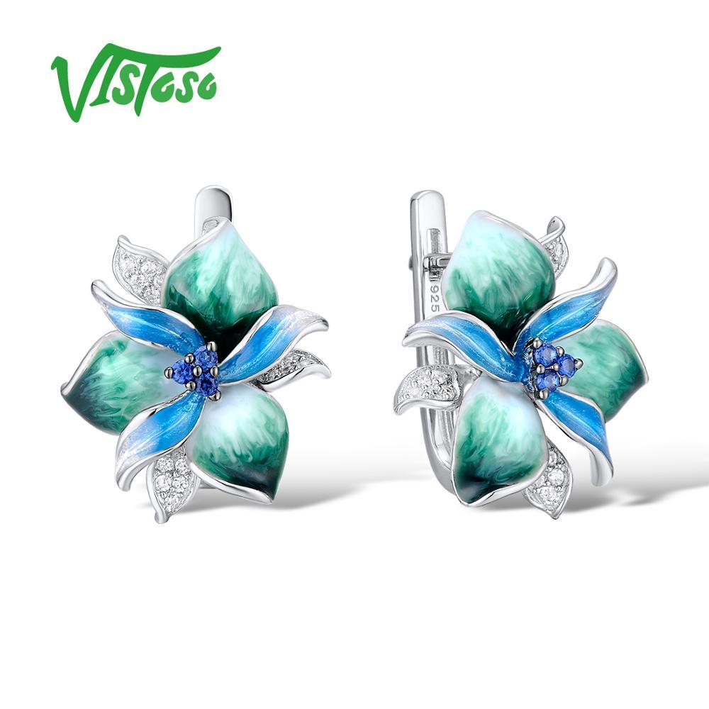 Vistoso Серебряные серьги для женщин 925 пробы серебро для Для женщин высокое качество зеленый эмаль цветок серьги стержня Модные украшения