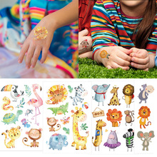 Jungle Party Animal Temporary Tattoos Waterproof Tattoo Sticker Safari Zoo Party Decor Kids Birthday Party Favors Tattoo Sticker