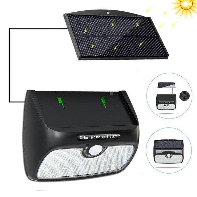48 led staccabile Luce di pannello solare ha condotto la lampadina lampada da parete motion sensor impermeabile ip65 per la sicurezza di emergenza patio strada