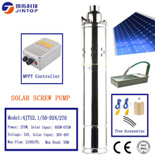 цена на (MODEL 4JTS2.1/50-D24/270) JINTOP SOLAR DC BRUSHLESS SCREW PUMP 270w Solar Power Pump 2 years warranty with MPPT controller