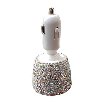 3.1A For Mobile Phone Car Charger Dual USB Universal Quick Charge Fast Crystal Rhinestones Safe Mount Hands Free Fashion Adapter