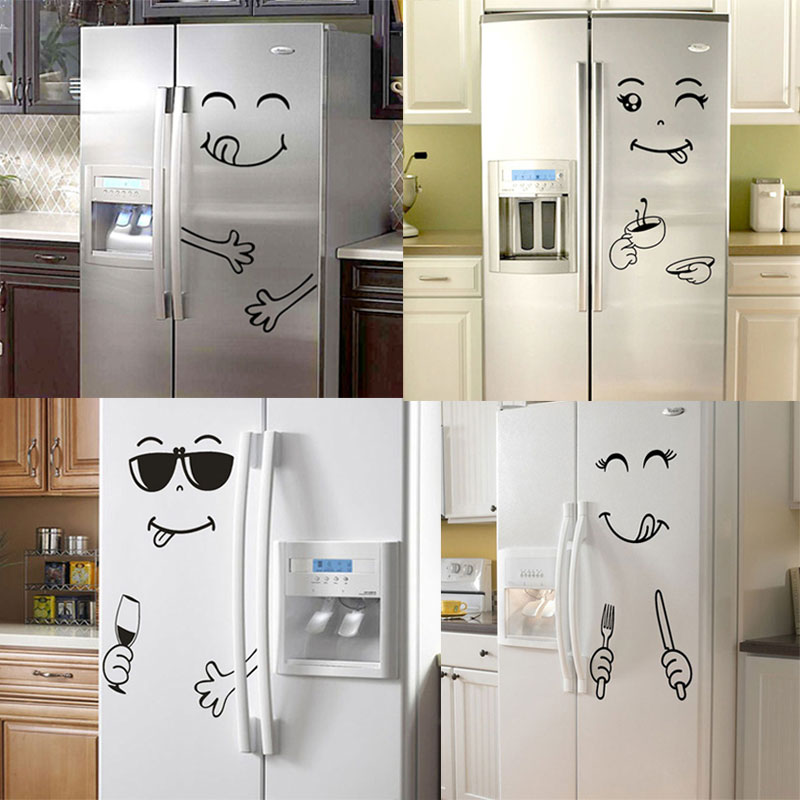 New 4 Styles Smile Face Wall Sticker Happy Delicious Face Fridge Stickers Yummy for Food Furniture Decoration Art Poster DIY PVC(China)