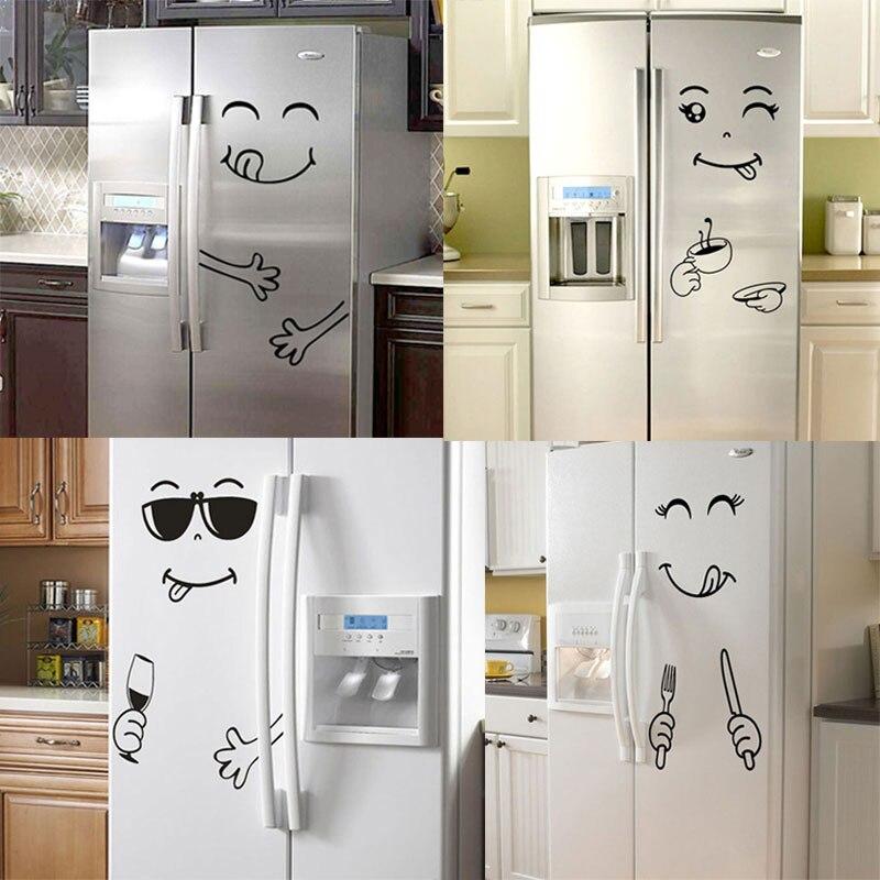 Nuevo adhesivo de pared de cara sonriente de 4 estilos, cara feliz deliciosa, pegatinas para nevera, Yummy para decoración de muebles de comida, Póster Artístico DIY de PVC|Adhesivos para pared|   - AliExpress