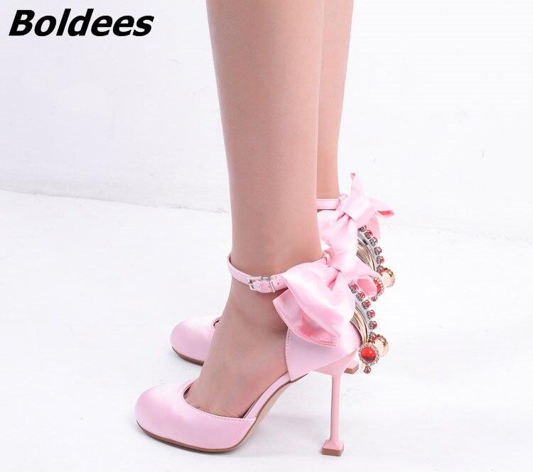 Bowtie Boldees Chaussures Rond Sandales En Rose Noir Daim Diamant Pompes Mode Sh De Cheville Wrap Talons Mariée Soie Haute Bout rose Noir Cristal Femmes raTrWnq