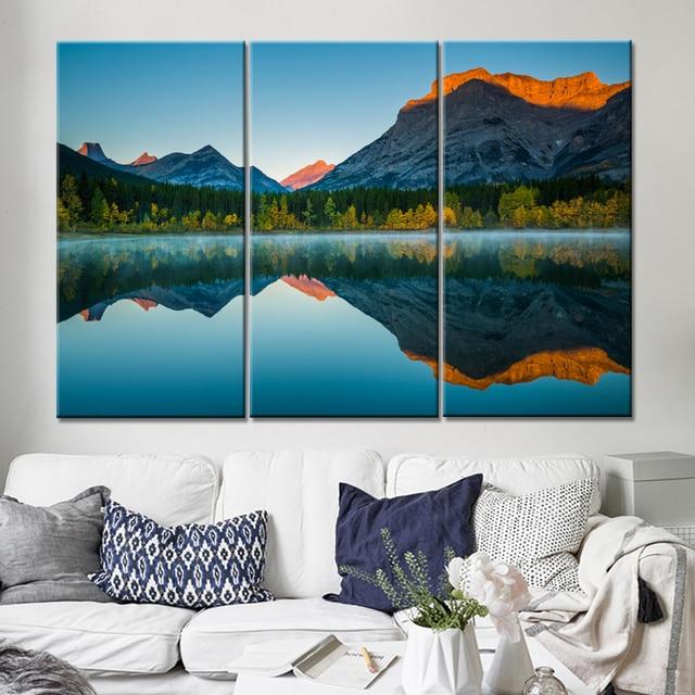 Drop Shipping 3 Pieces Mountain Lake Landscape Canvas Wall Art ...