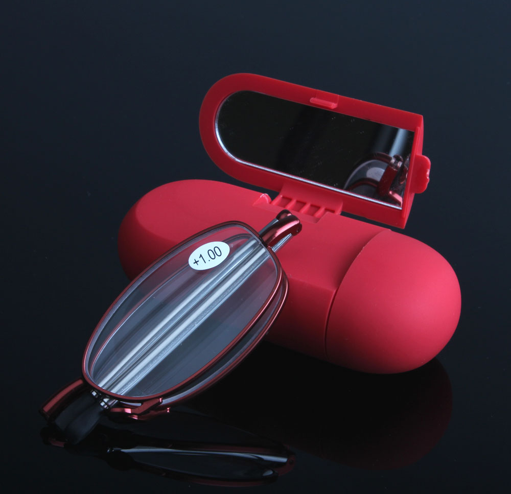 JIE.B 2017 MINI Design Reading Glasses Men Women Folding Small Glasses Frame Black Metal Glasses With Original Box Gafas
