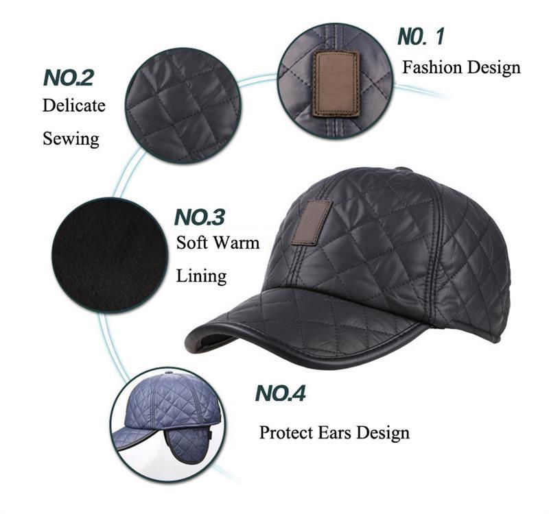 bf9accdf New Design Men's Fashion Protective Ear Baseball Caps Winter Warm ...