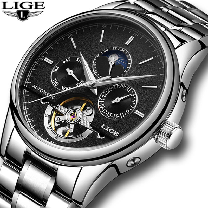 LIGE Mens Watches Top Brand Luxury Sports Steel Strap Mechanical Watch Military Watch Waterproof Men's Clock Relogio Masculino mens watches top brand luxury sports watch men waterproof 100m tourbillon mechanical watch man clock relogio masculino army