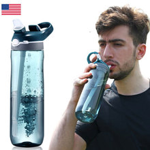 цена на Outdoor Water with Straw Drink Lightweight Cycling Water Bottle BPA& EA Free Wide Mouth Sports Bottle
