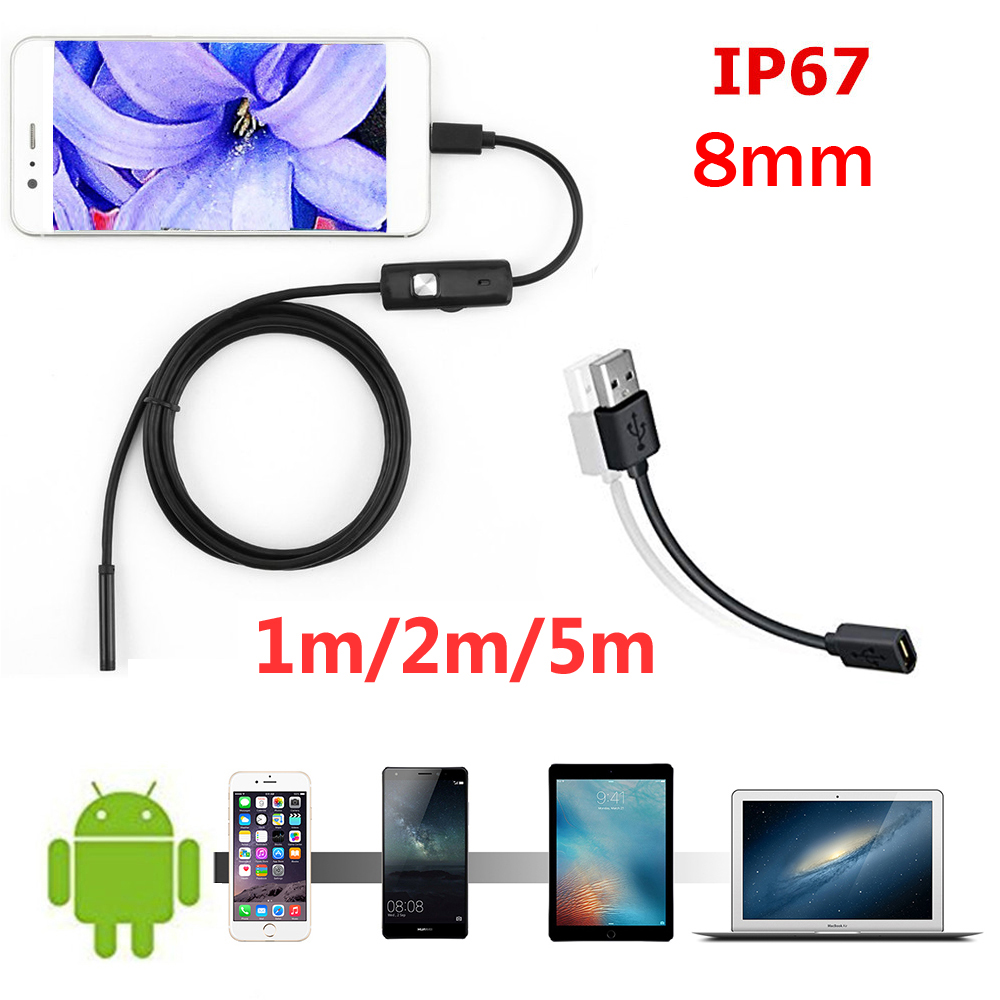 8mm/1/ 2m Endoscope Camera HD USB Endoscope With 6 LED  Soft Cable Waterproof Inspection Borescope For Android PC