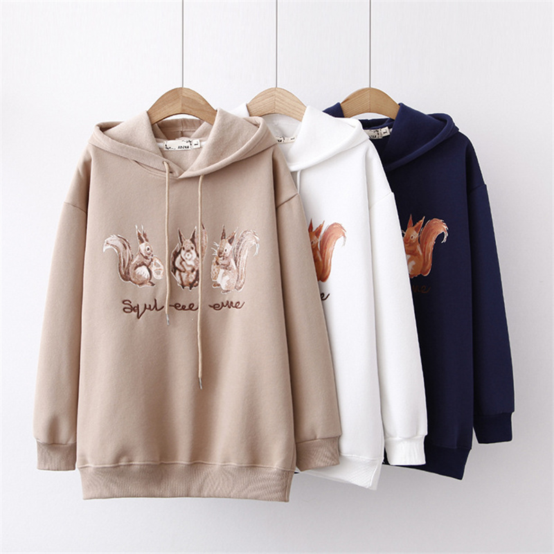 2018 Autumn Winter Cute Fox Print Hooded Sweatshirt Women Pullovers Plus Velvet Hoodies Female FZ47