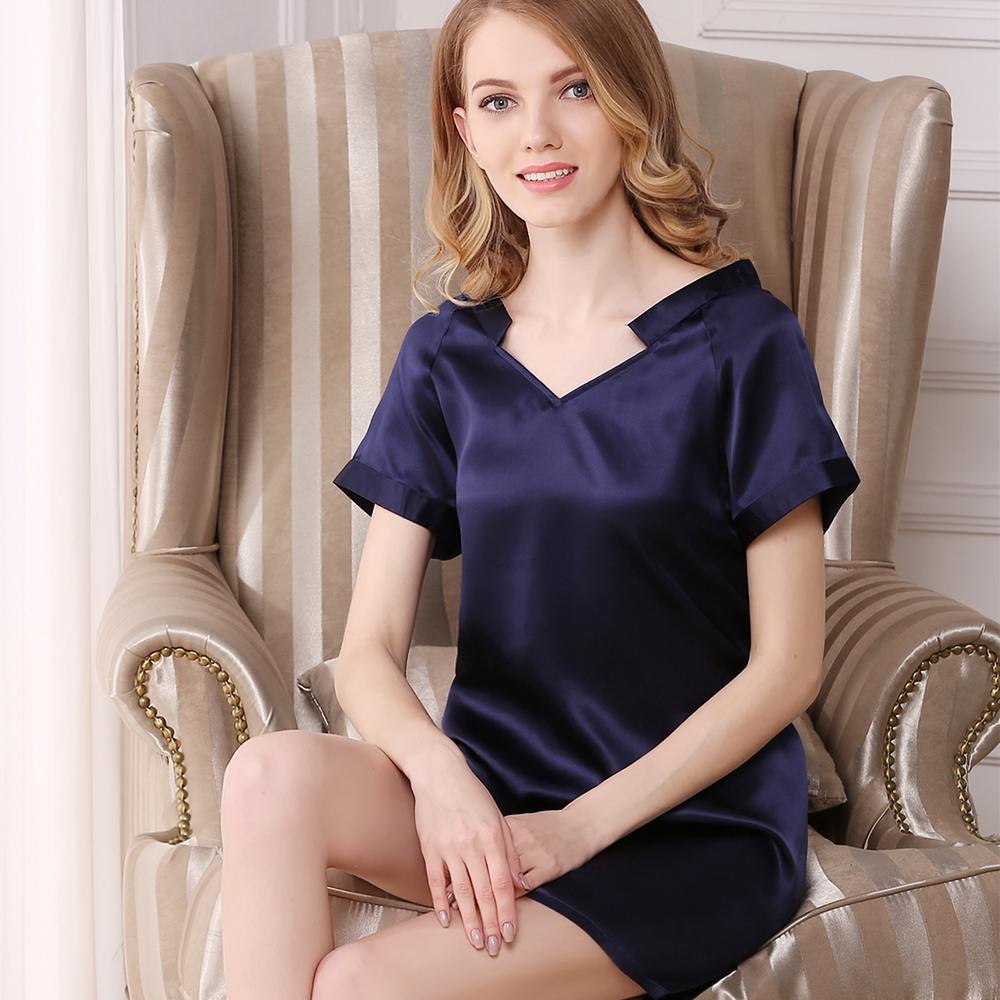 Sexy Women Silk Nightgowns Summer V-Neck Red Blue Beige Pajamas Natrual Fabric Clothing