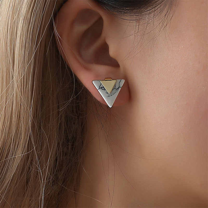 New Simple Korean Marble Triangle Stud Earrings for Women Small Geometric Ear Studs Earing Ladies Fashion Jewelry Gift