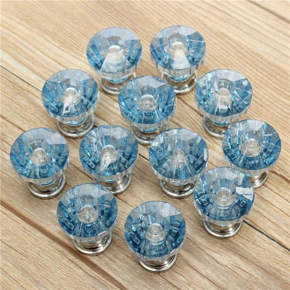 12X Blue Diamond Shape Crystal Glass Cabinet Knob Cupboard Drawer ...