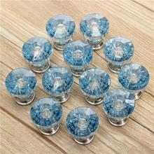 12x Blue Diamond Shape Crystal Gl Cabinet Cupboard Drawer Pull Handle