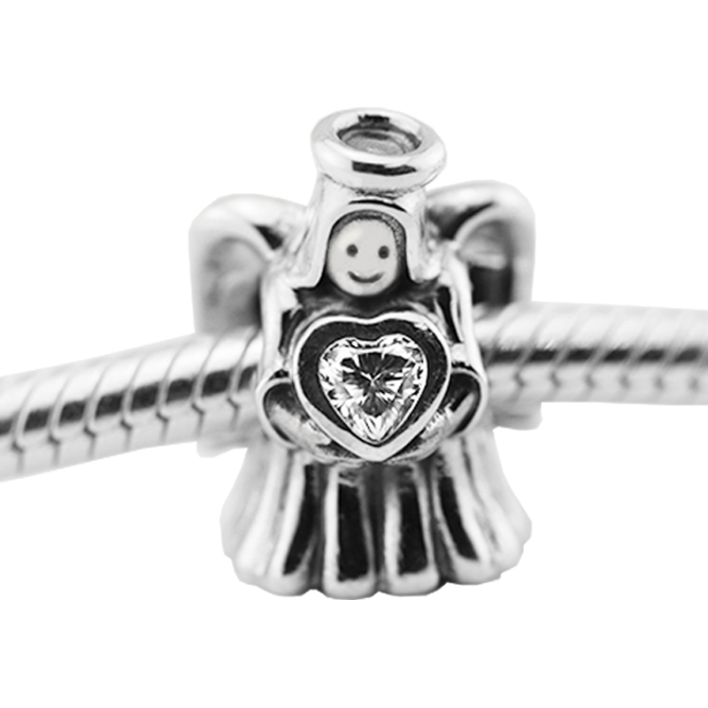Fits Pandora charm bracelet Angel of Love with Clear Cz charms 100% 925 sterling silver jewelry DIY wholesale