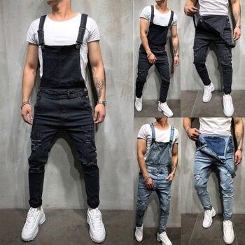 Мужские потертые джинсовые комбинезоны, Комбинезоны для плотника, байкерские джинсовые штаны