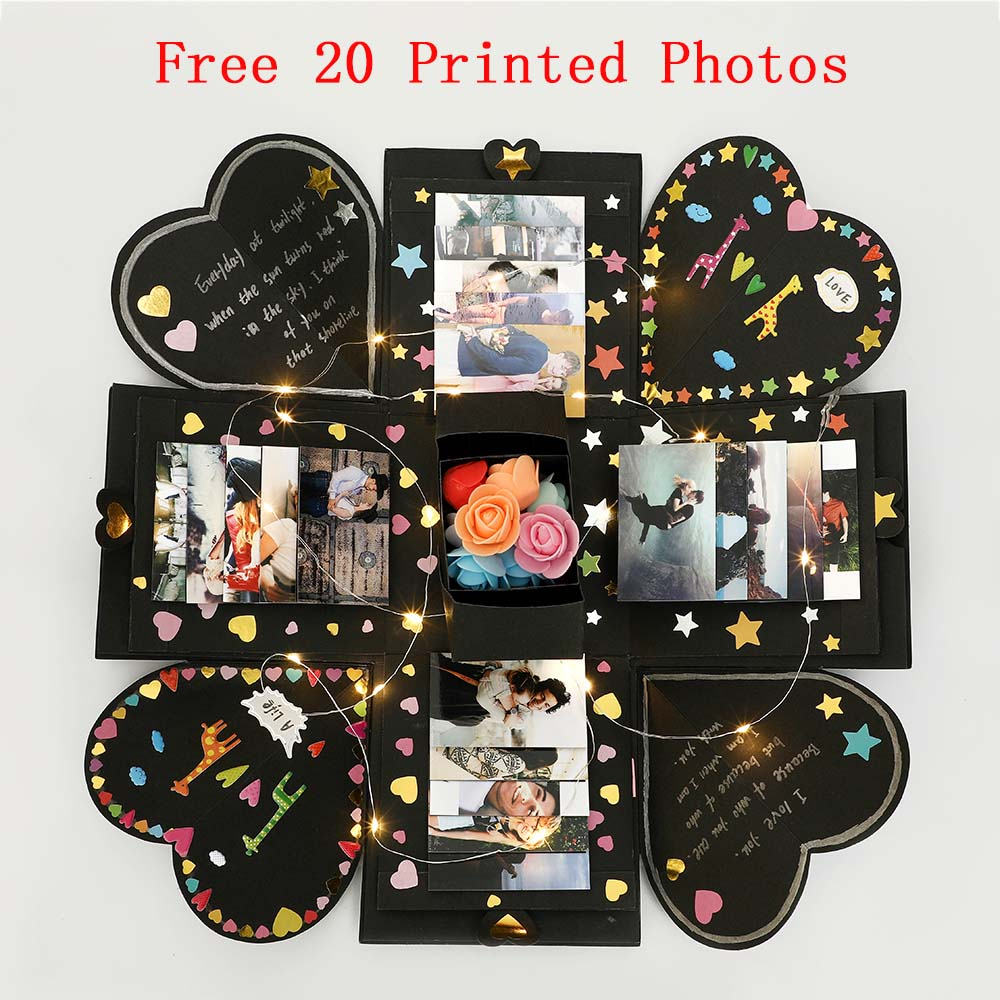 Free Photos DIY Surprise Love Explosion Box Gift Explosion For Anniversary Scrapbook DIY Photo Album Birthday Gift 15x15x15cm