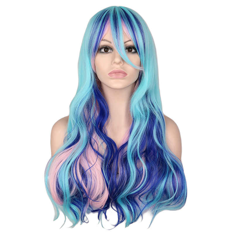 QQXCAIW Long Wavy Cosplay Party Costume Mixed Blue Pink Purple 0 Cm Synthetic Hair Wigs