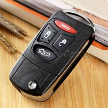 3+1Panic Buttons Car Folding Flip Remote Key Case Shell for DODGE CHRYSLER 300 Aspen JEEP Auto Cover Replacement