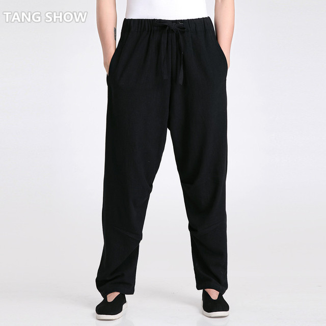New Style Black Men's Casual Loose Pant Chinese Male Cotton Linen Kung Fu Tai Chi Trousers Size S M L XL XXL XXXL 2601-1