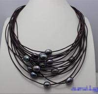 Бесплатная доставка Лидер продаж Для женщин Свадебные украшения> черный жемчуг пресноводных 15 Strand Фиолетовый из натуральной кожи ожерелье ...