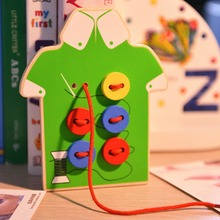 Wooden Baby Kids Montessori Educational Toys Children Beads Lacing Board Wooden Toys Baby Children Kids Sew