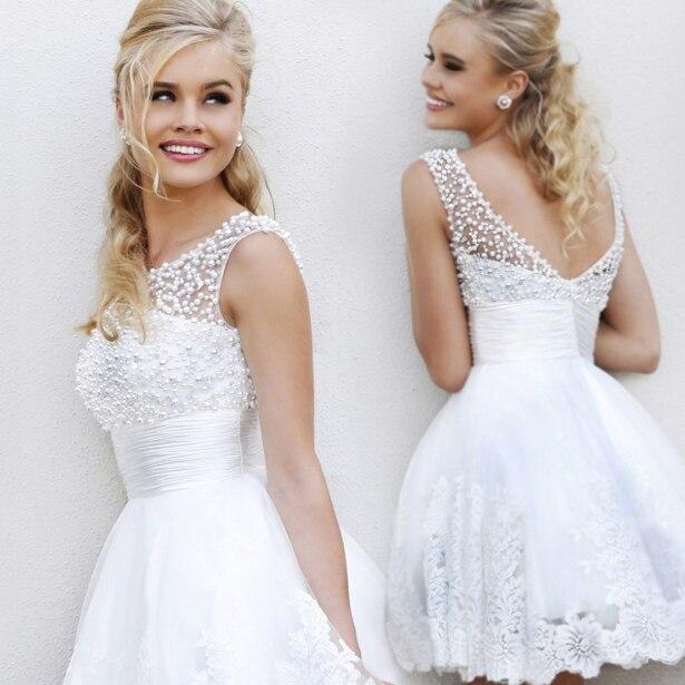 2014 Hot Sale Elegant Beading Pearls White Lace Sleeveless