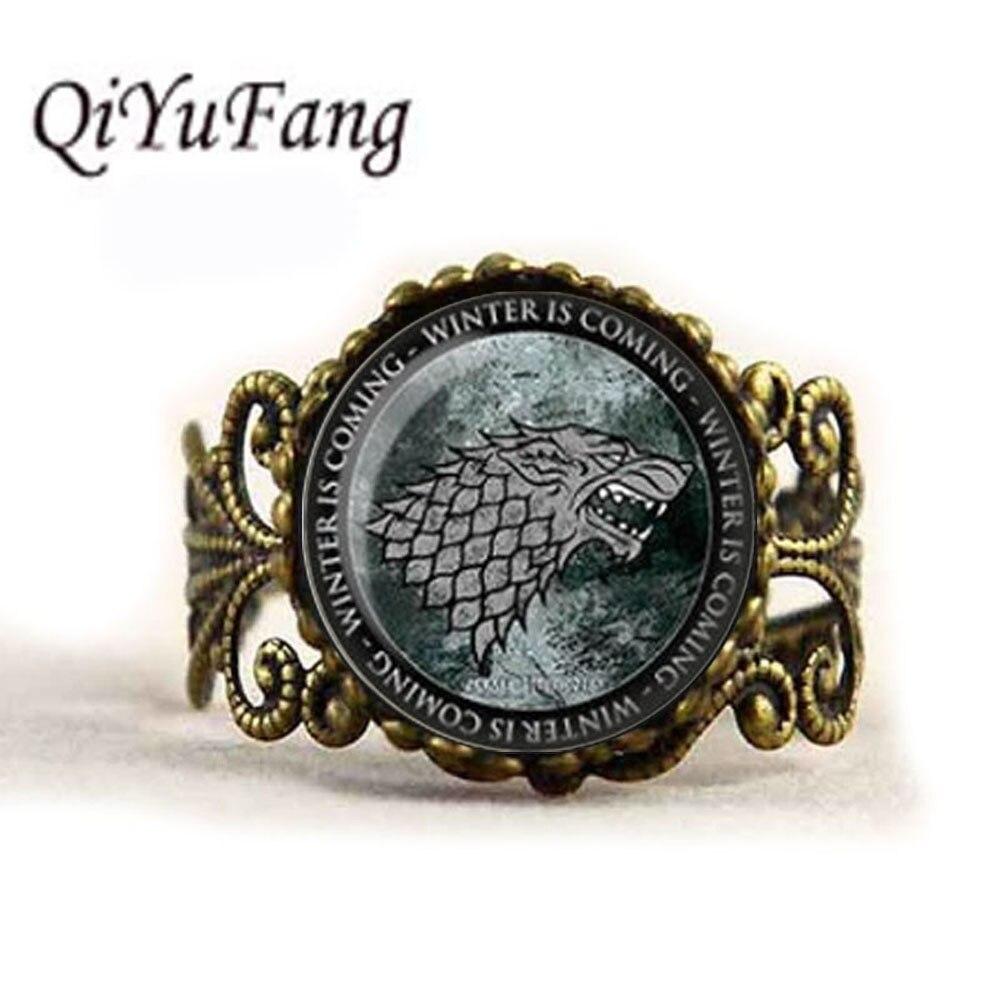 QiYuFang Game Of Thrones Ring House Stark Sigil Direwolf Ring Winter Is Coming Image Pendant Handmade Jewelry Rings Men Women