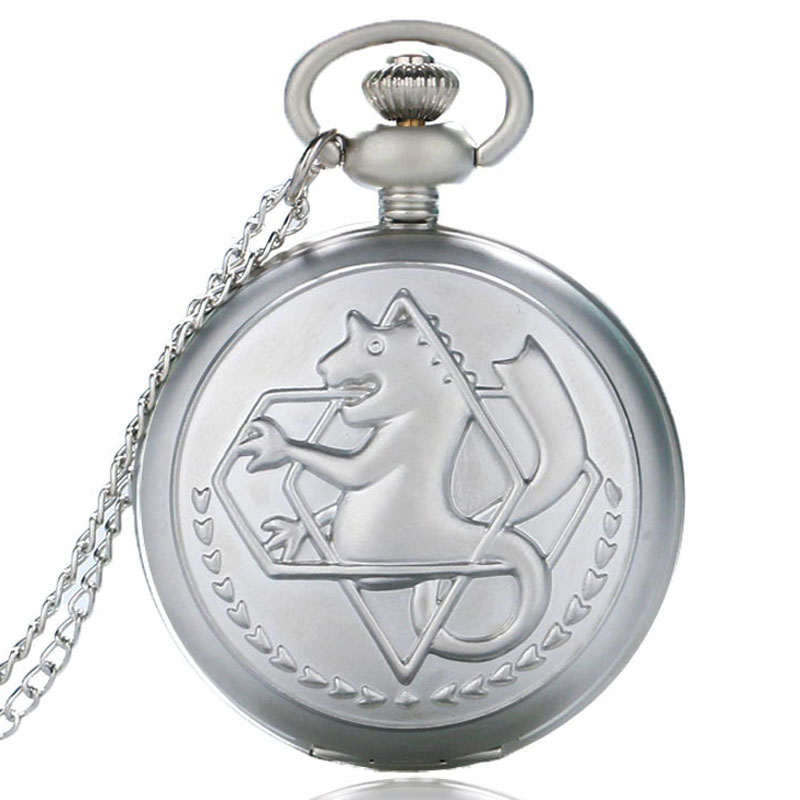 Vintage Silver Quartz Pocket Watch Fullmetal Alchemist Edward Eric Anime Cartoon Fob Clock Men Women Gift antique fullmetal alchemist full metal case bronze pocket watch with chian necklace christmas