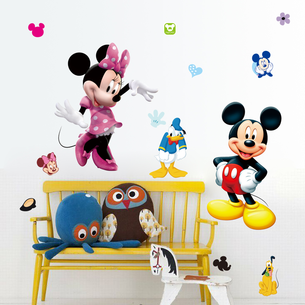 Lovely Mickey And Minnie Mouse Wall Stickers For Kids Bedroom Decor Animals  Mural Art Diy Cartoon Home Decals In Wall Stickers From Home U0026 Garden On ...