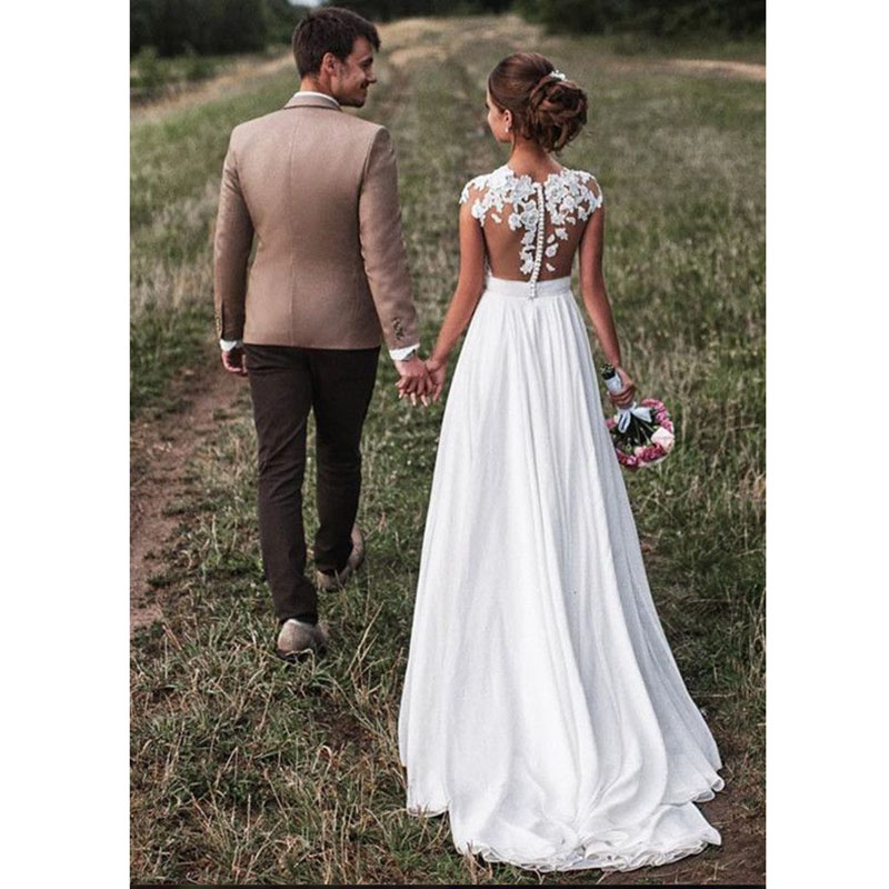 LORIE Beach Wedding Dress Vintage Lace Top Sexy Ivory Bridal Dresses Appliques A-Line Chiffon Skirt Bride Dress Wedding Gown